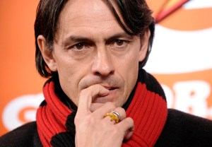 AC Milan's coach Filippo Inzaghi reacts during their Italian Serie A soccer match against Hellas Verona at San Siro Stadium in Milan March 7, 2015. REUTERS/Giorgio Perottino (ITALY - Tags: SPORT SOCCER)