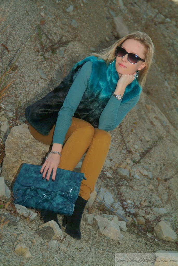 Turquoise Faux Fur Vest With Yellow Jeans