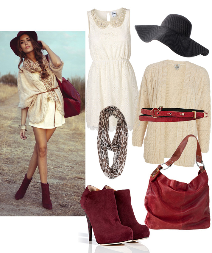 Get The Look by style blogger AnnRobieFashion: beige chunky cardigan, white dress, burgundy suede booties, burgundy suede bag, black hat, red leather belt