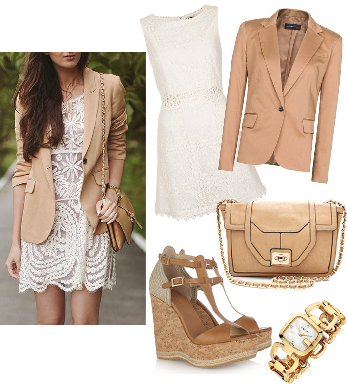 Get The Look by style blogger AnnRobieFashion: beige jacket, white lace dress, wedges, beige bag