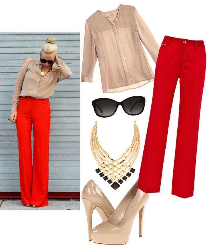 Get The Look by style blogger AnnRobieFashion: beige sheer blouse, wide leg red pants, nude pumps, golden statement necklace