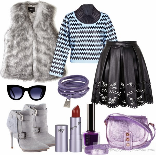 Outfit of the day: grey faux fur vest, leather laser-cut skirt, grey suede boots