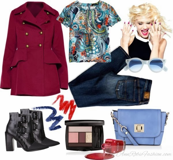Outfit of the day: burgundy coat, blue jeans, black leather boots