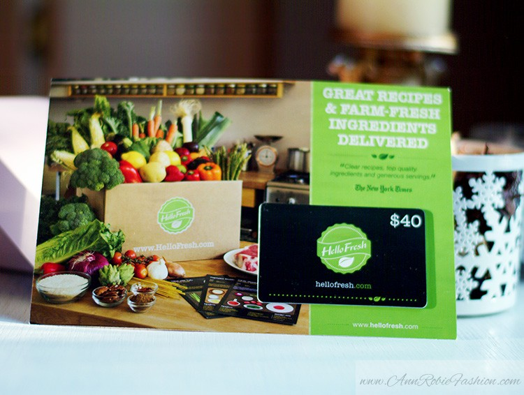 Glossybox January 2015 review by Ann Robie: gift card Hellofresh.com