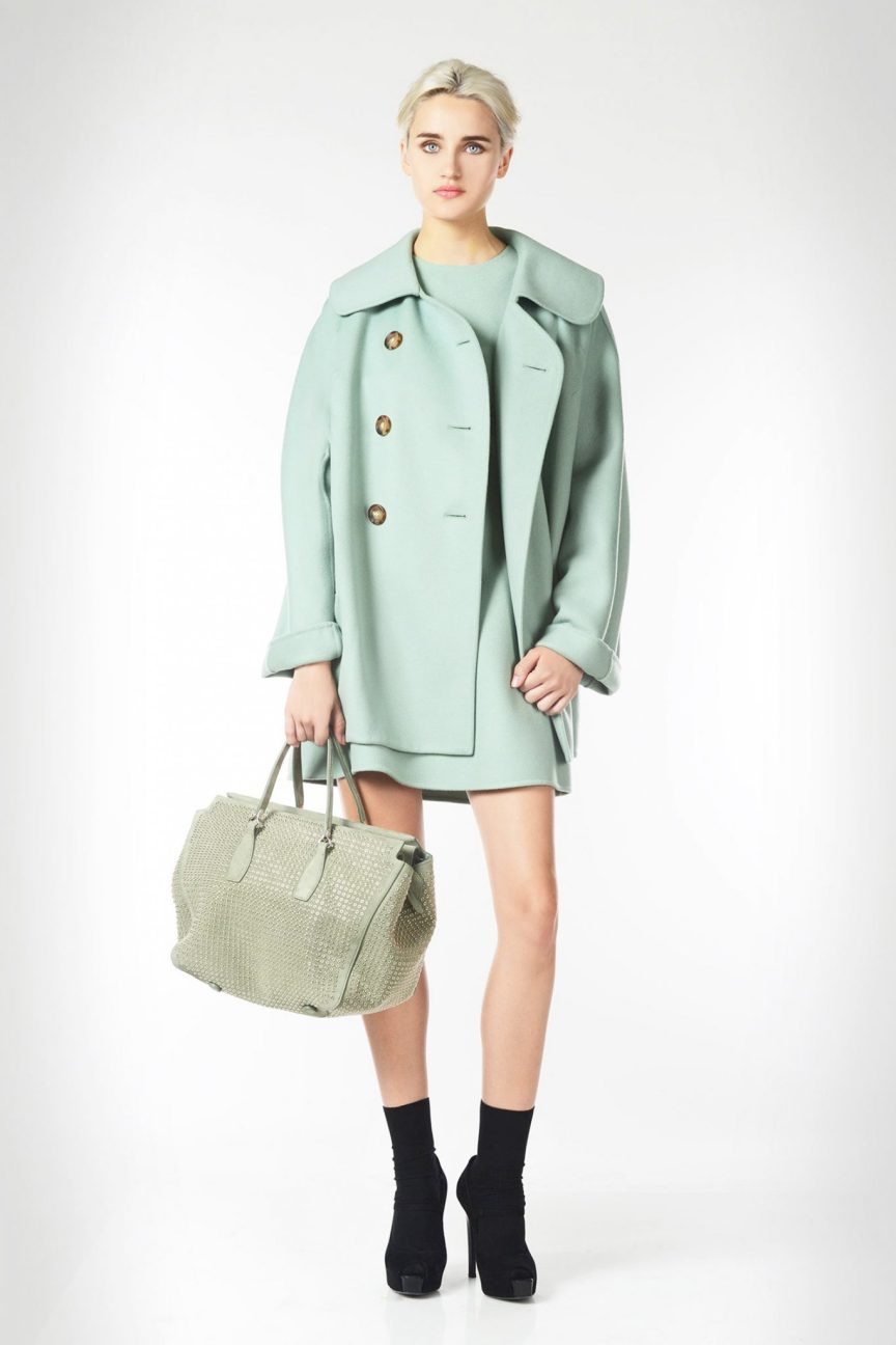 Ermanno Scervino Double breasted pea coat in double wool featuring oversized volumes