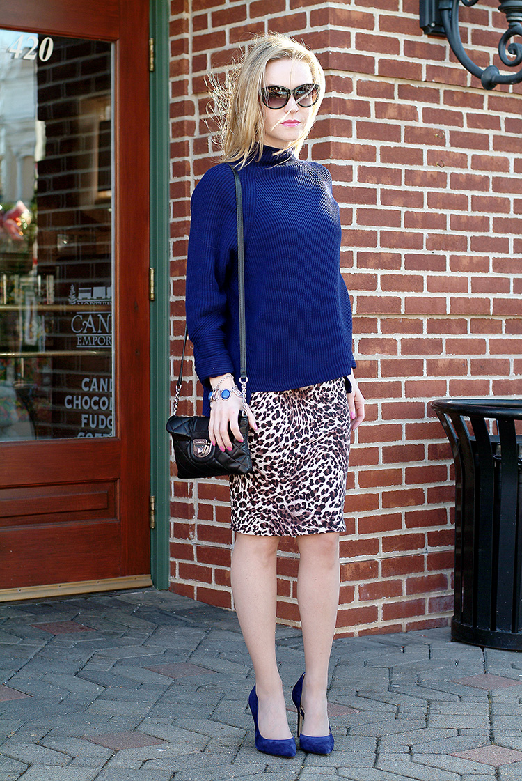Elie-Tahari-navy-blue-sweater-with-suede-navy-blue-Jessica-Simpson-heels-and-leopard-print-pencil-skirt,-urban-chic-1