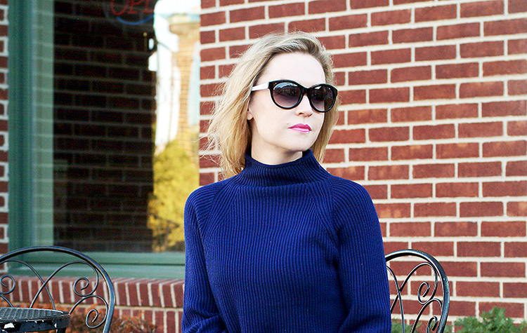 Blogger Style: urban chic by AnnRobieFashion - Elie Tahari navy blue sweater with suede navy blue Jessica Simpson heels and leopard print pencil skirt