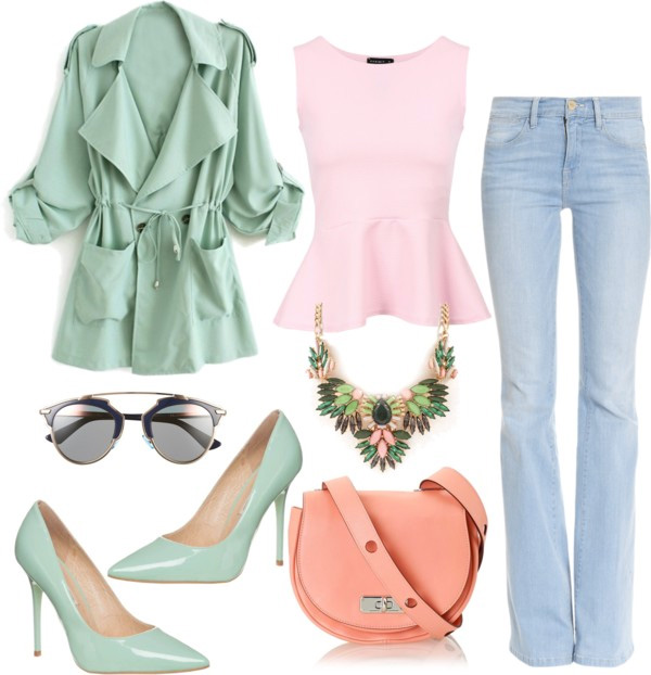 How to style flared jeans by AnnRobieFashion: flared jeans, pale pink peplum top, mint coat and mint pumps