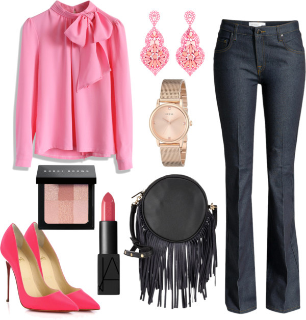 How to style flared jeans by AnnRobieFashion: flared jeans, pink silk blouse with a bow, pink pumps