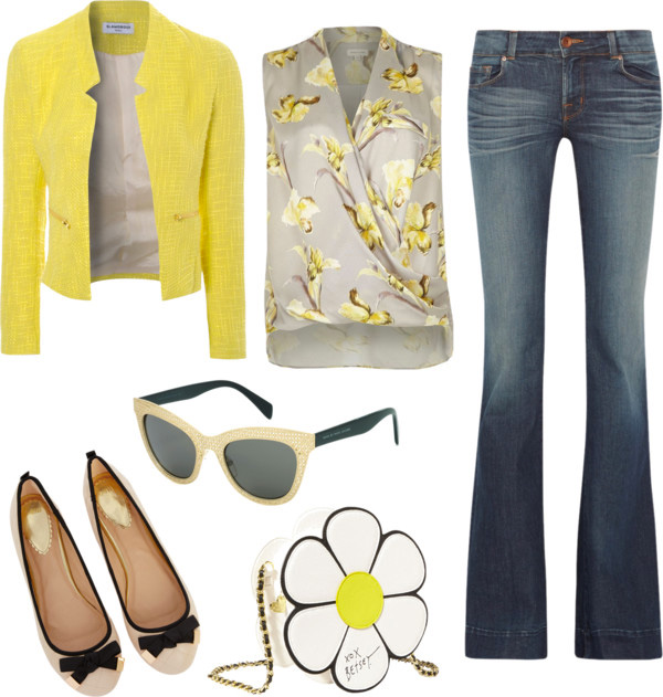 How to style flared jeans by AnnRobieFashion: flared jeans, yellow jacket, silk blouse, flats