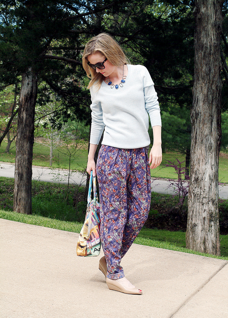 Spring Style by style blogger Ann Robie from AnnRobieFashion.com: BCBG pants, baby blue Ann Taylor sweater, tan flats