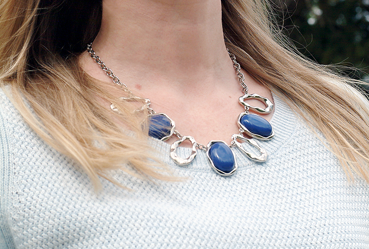 Street Style by fashion blogger AnnRobieFashion: blue necklace