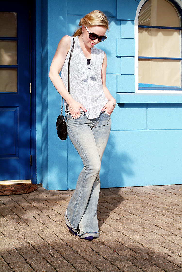 Outfits for Petites by style blogger AnnRobieFashion: Blue Silk Sleeveless Top by Loft, Flared Jeans by Ralph Lauren