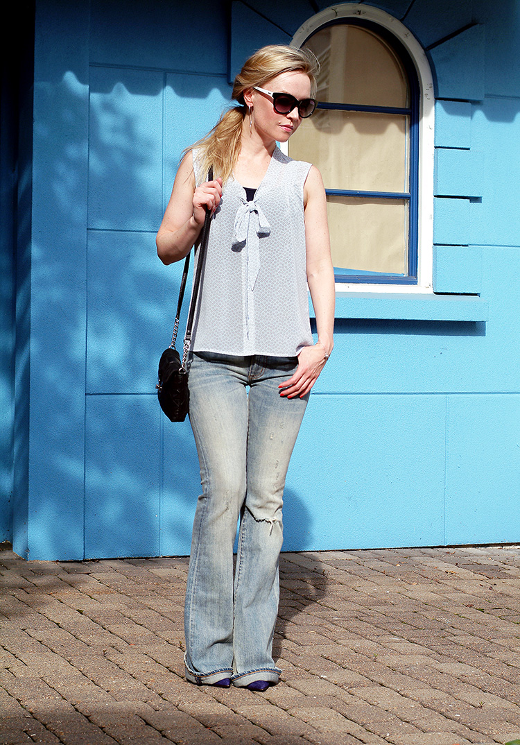#OOTD by style blogger AnnRobieFashion: Blue Silk Sleeveless Top by Loft, Flared Jeans by Ralph Lauren