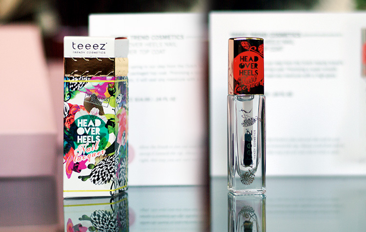 Glossybox May 2015 review by style blogger AnnRobieFashion: Head over heels nail laquer top coat by Teeez Trend Cosmetics
