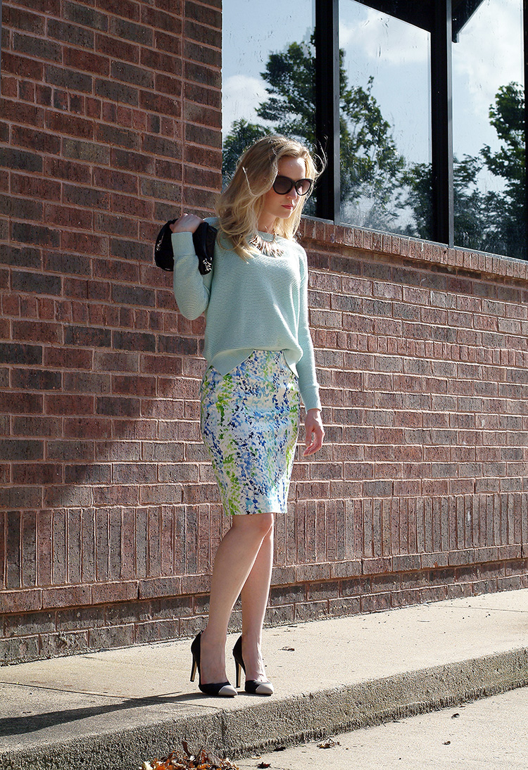 Outfit Ideas for Petites by style blogger AnnRobieFashion - turquoise sweater, LOFT; short multi color skirt, Ann Taylor
