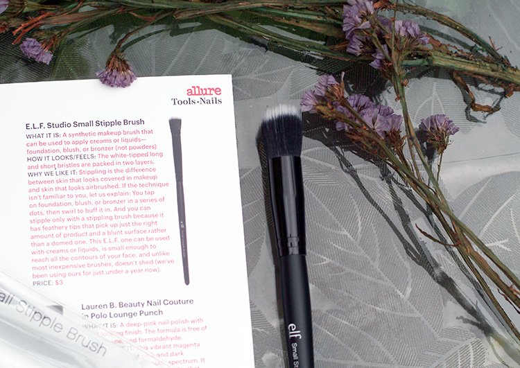 Allure June 2015, review by style blogger AnnRobieFashion: e.l.f. Studio Small Stipple Brush