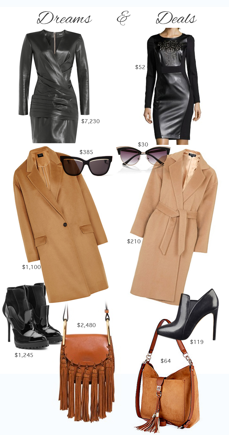 Big Dreams, Real Deals #5: Leather Dress, Cashmere Coat, Black Boots by AnnRobieFashion