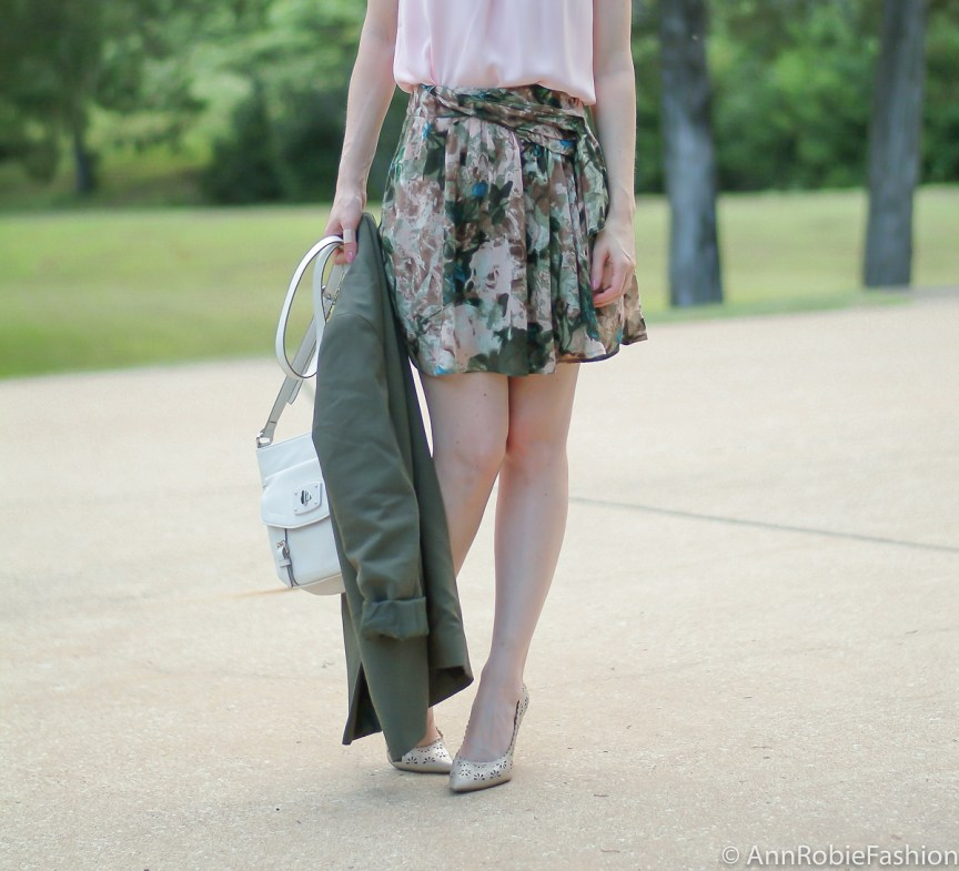 Romantic Chic by petite fashion blogger AnnRobieFashion: Asos green jacket, Stefanel floral print skirt, pale pink sleeveless top LOFT, nude leather shoulder bag, Laured Conrad nude Floral Cutout High Heels