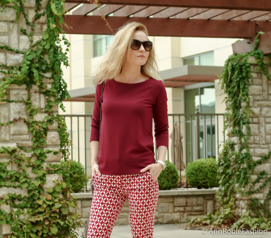 Style tips by petite style blogger AnnRobieFashion: burgundy top Ann Taylor, red and white printed pants LOFT, platform sandals Jessica Simpson