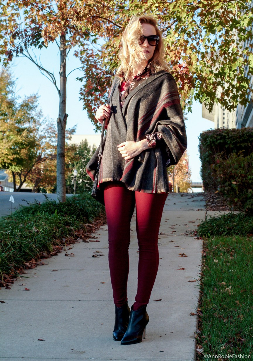 How to wear stripes & floral print together: burgundy skinny pants Charlotte Russe, floral print shirt Loft, blanket scarf, black leather boties Vince Camuto - monochromatic casual outfit by petite style blogger AnnRobieFashion