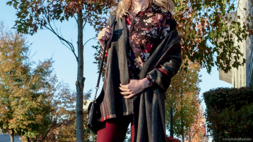 Fall street style: burgundy skinny pants Charlotte Russe, floral print shirt Loft, striped blanket scarf, black leather boties Vince Camuto - monochromatic casual outfit by petite style blogger AnnRobieFashion