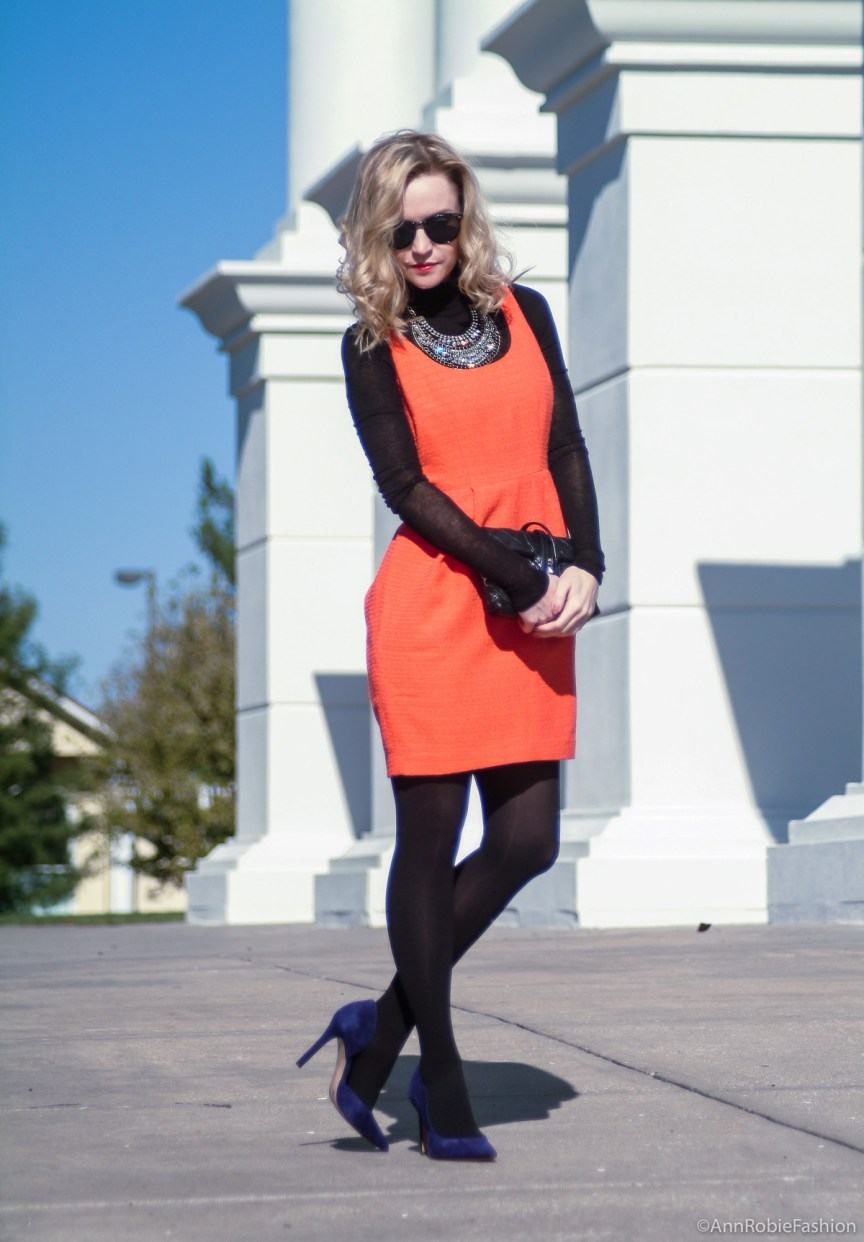 What to wear with an orange dress: orange sleeveless dress, black turtleneck sweater, suede heels - petite street style by fashion blogger AnnRobieFashion