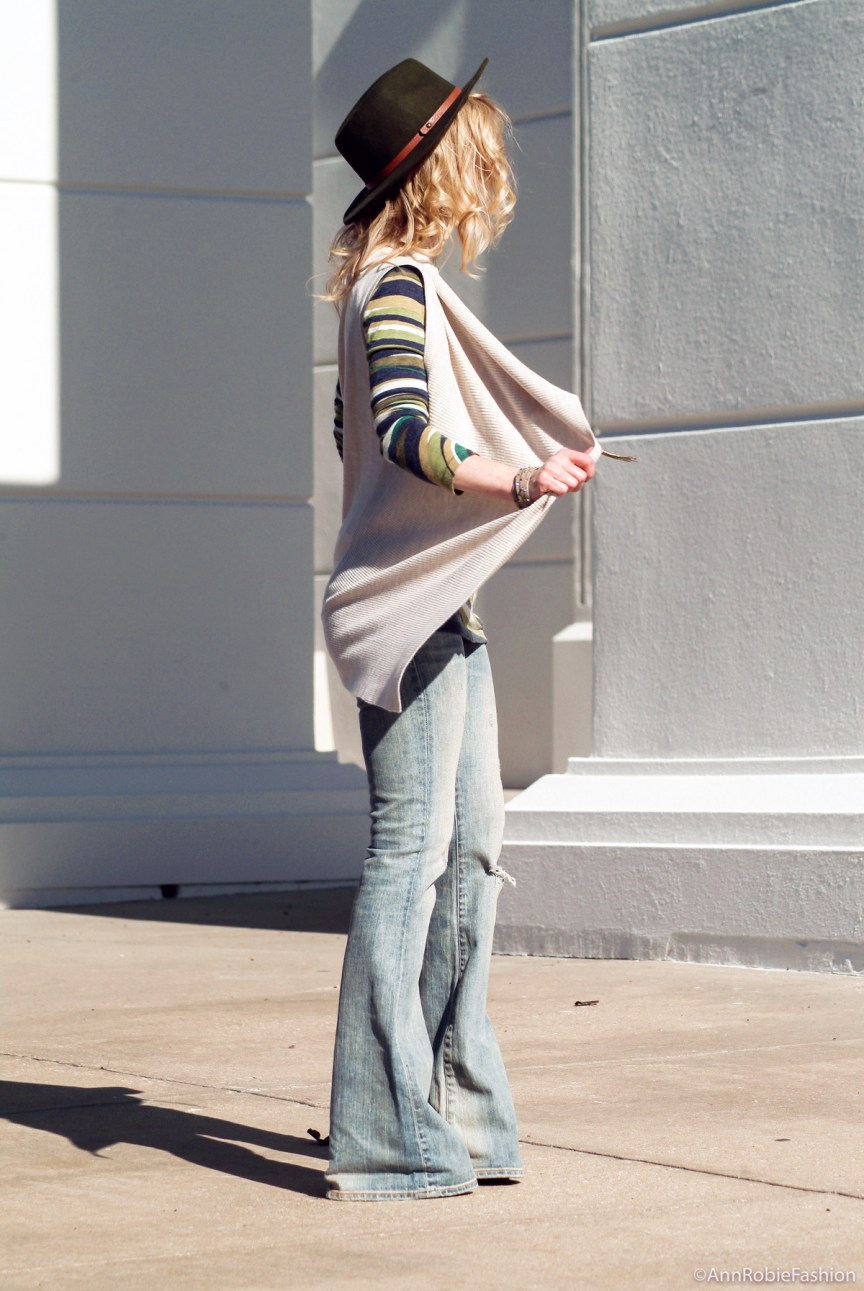 How to wear a hat: Sleeveless tan cardigan Ann Taylor, green multi color dress, flared jeans Ralph Lauren, olive green-hat Target - outfit by petite style blogger AnnRobieFashion