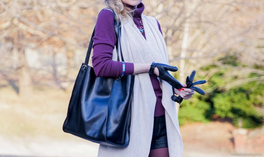 What to wear with leather shorts in winter: black leather shorts Forever 21, beige vest Ann Taylor, plum turtleneck sweater Ann Taylor, black ankle booties Vince Camuto - outfit idea by style blogger AnnRobieFashion