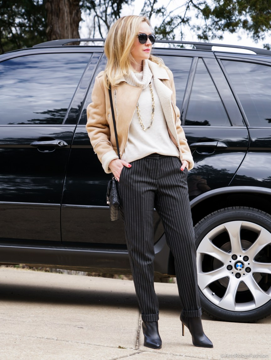 Winter Street Style: SheIn apricot long sleeve lapel zipper coat with striped pants - casual outfit by petite style blogger AnnRobieFashion