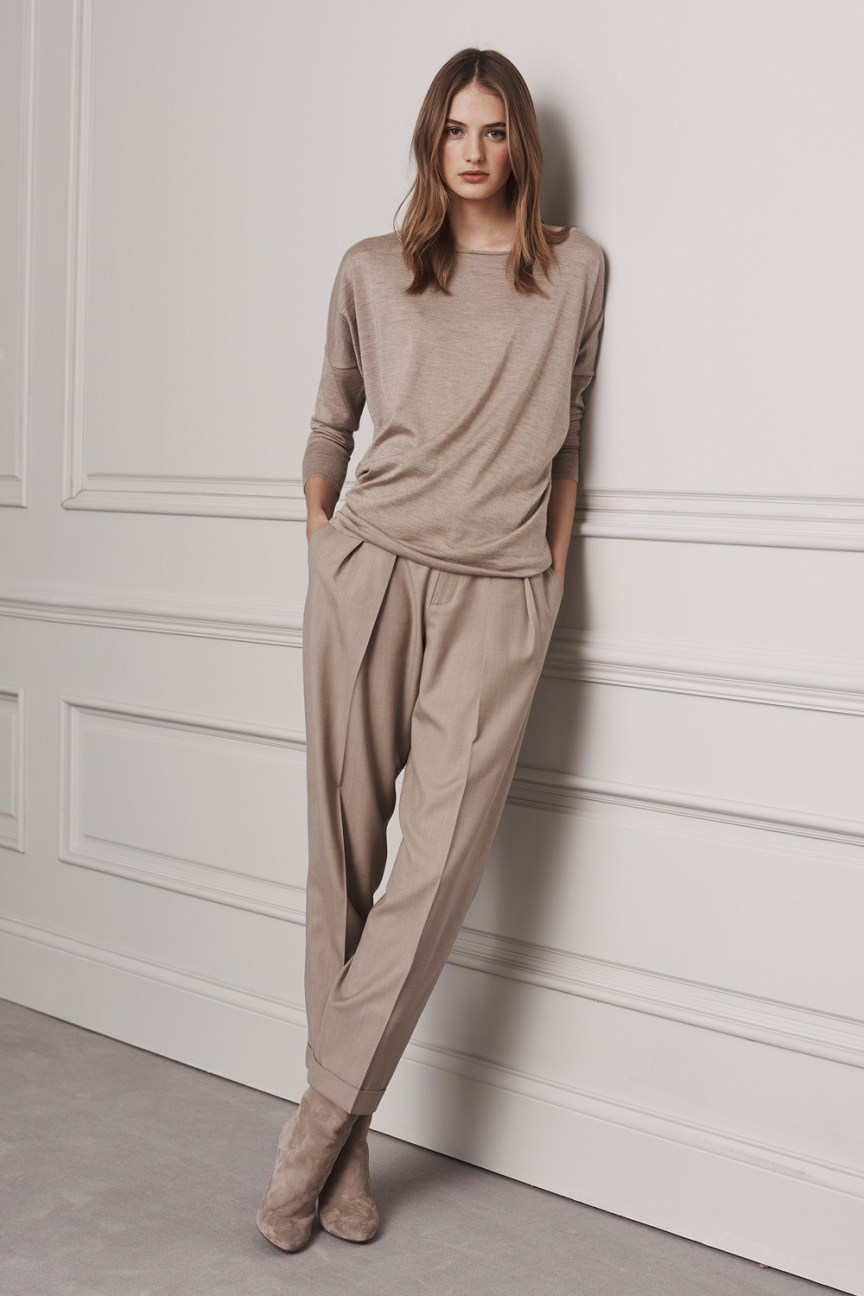 Ralph Lauren Pre-Fall 2016 Lookbook; pastel, beige pants, sand beige sweatshirt