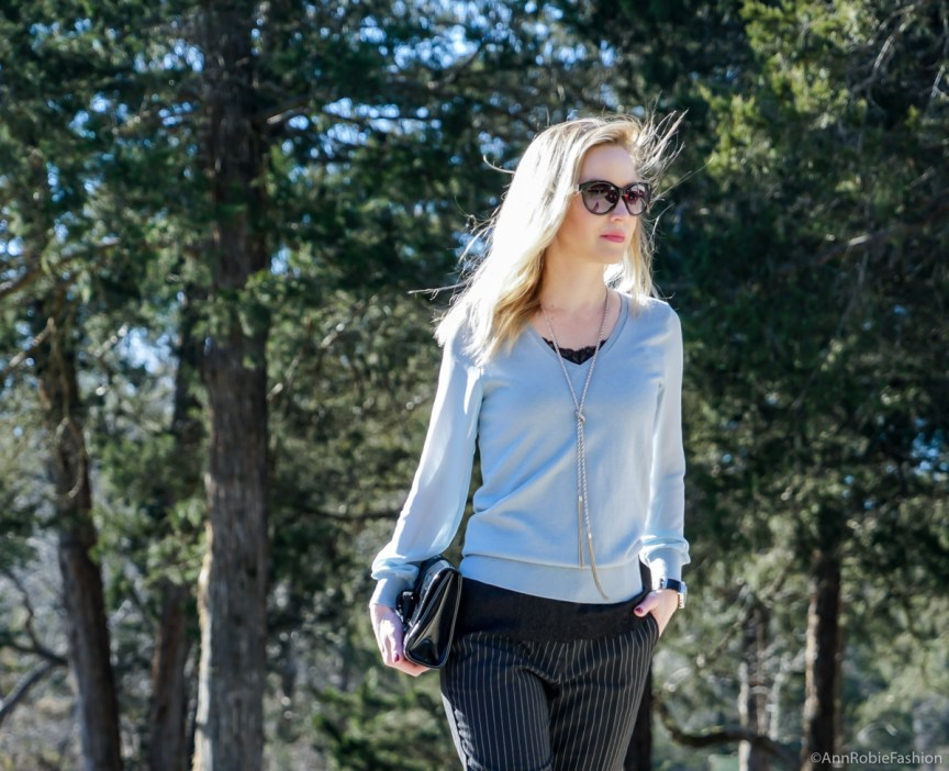 How to wear a blue sweater with the sheer sleeves in winter: outfit by petite style blogger AnnRobieFashion