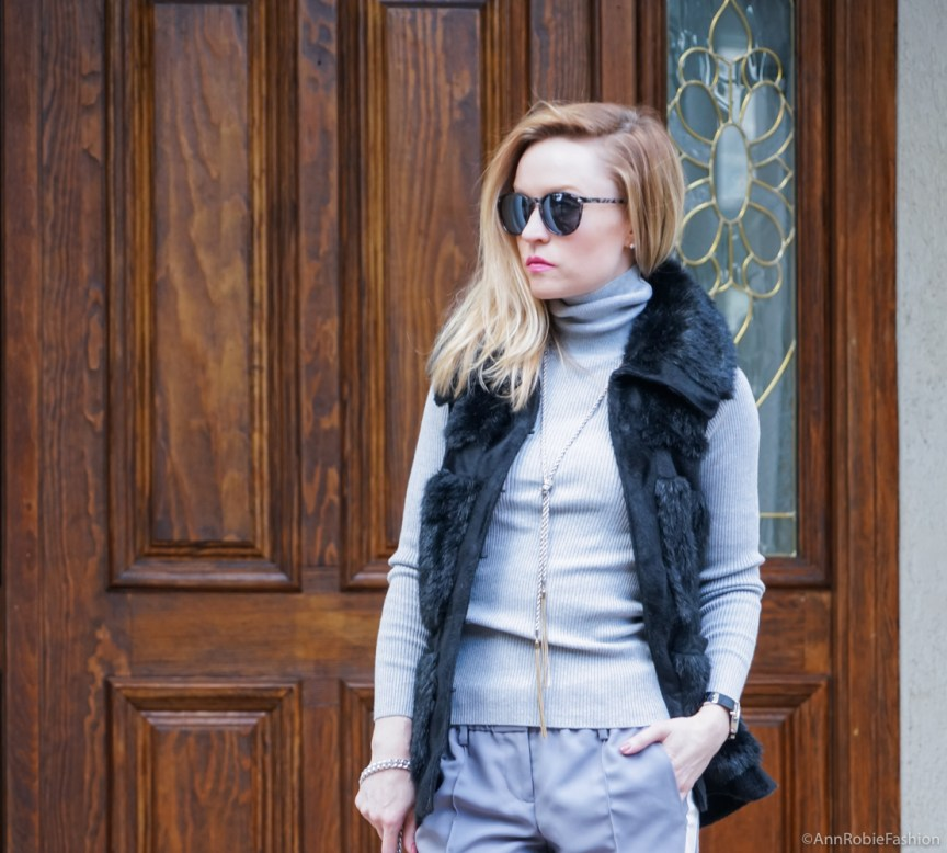 Winter chic - Grey striped pants LOFT, grey turtleneck sweater LOFT, faux fur vest Rachel Zoe, ankle booties Vince Camuto - winter outfit idea by petite style blogger AnnRobieFashion