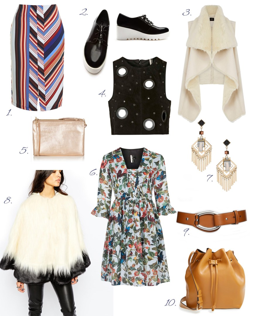 January sales on Asos, Oasis, Topshop, Nordstrom: white sleeveless faux fur vest Oasis, floral print dress, midi pencil skirt Topshop