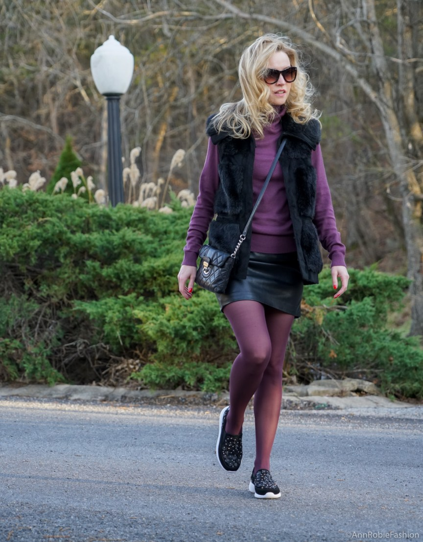 Winter Chic- sleeveless faux fur vest Rachel Zoe, plum turtleneck Ann Taylor, black leather skirt Forever 21, Zara leather sneakers with floral details by petite style blogger AnnRobieFashion