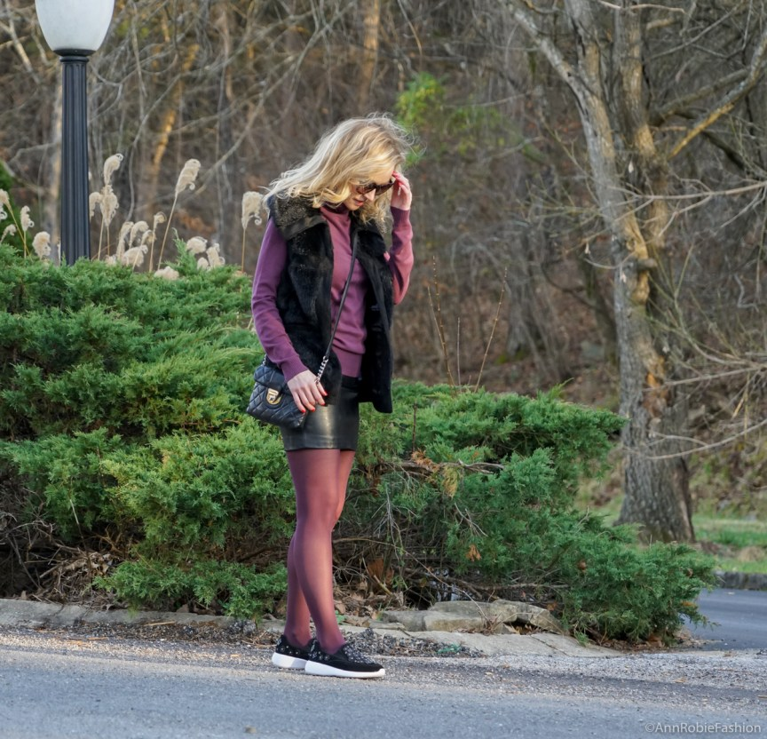 Casual winter: sleeveless faux fur vest Rachel Zoe, plum turtleneck Ann Taylor, black leather skirt Forever 21, Zara leather sneakers with floral details by petite style blogger AnnRobieFashion