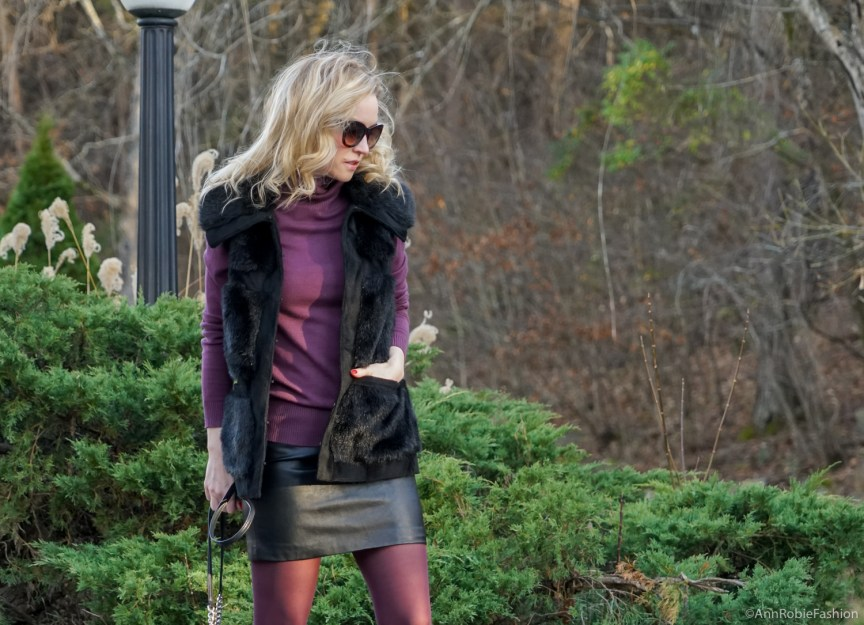 Faux fur & leather: sleeveless faux fur vest Rachel Zoe, plum turtleneck Ann Taylor, black leather skirt Forever 21, Zara leather sneakers with floral details by petite style blogger AnnRobieFashion