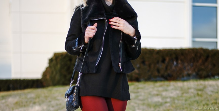 Black & Red outfit ideas: Black turtleneck sweater, skinny burgundy pants, faux fur jacket WHBM, ankle booties Vince Camuto - winter outfit idea by petite style blogger AnnRobieFashion
