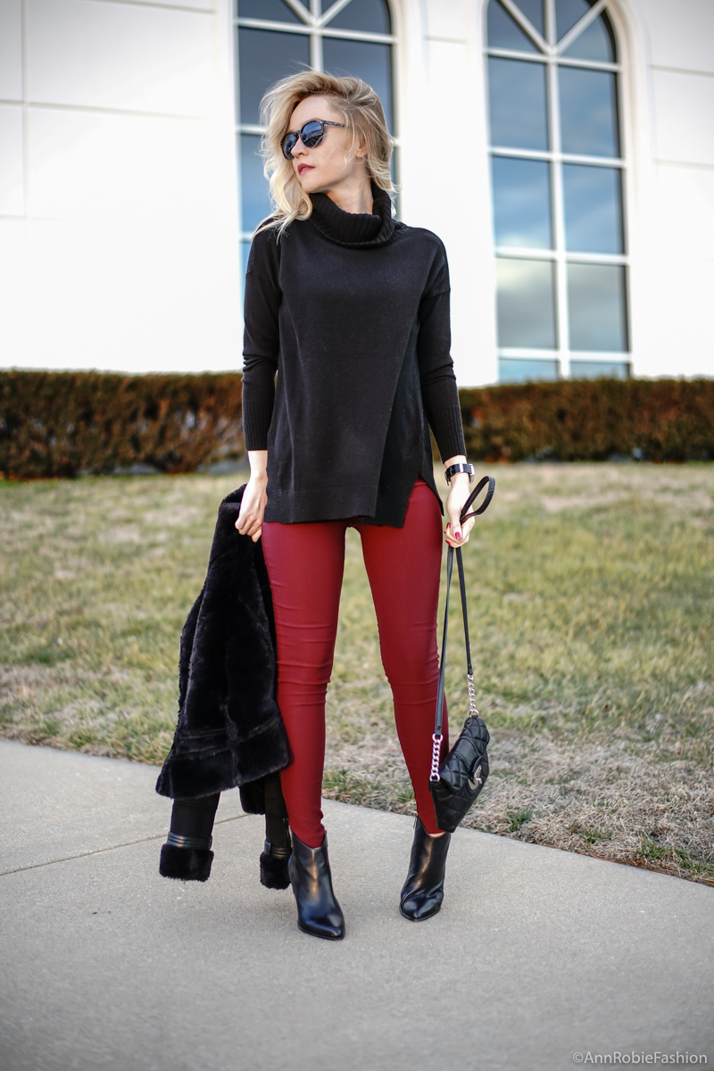 Petite street style: Black turtleneck sweater, skinny burgundy pants, faux fur jacket WHBM, ankle booties Vince Camuto - winter outfit idea by petite style blogger AnnRobieFashion