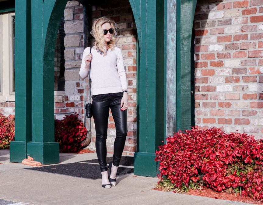 Spring outfit ideas: Pale pink sweater Ann Taylor, skinny leather pants Banana Republic - outfit by petite style blogger AnnRobieFashion