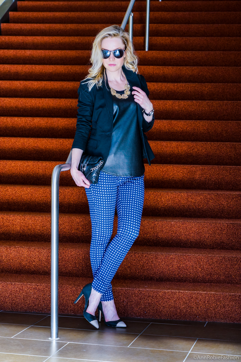 Spring style: Sloan-fit blue ankle pants Banana Republic, black jacket Banana Republic, golden leaves necklace Banana Republic, heels Calvin Klein - spring outfit by petite style blogger AnnRobieFashion