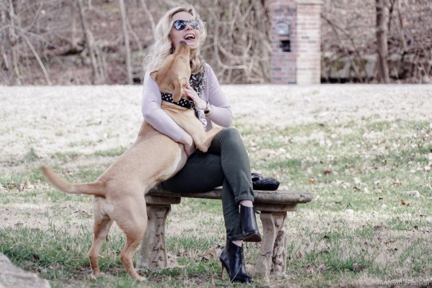 Walking with the dog in style: pale pink sweater Ann Taylor, khaki jeans Pacsun, black leather ankle boots Vince Camuto, khaki scarf - outfit by petite style blogger AnnRobieFashion