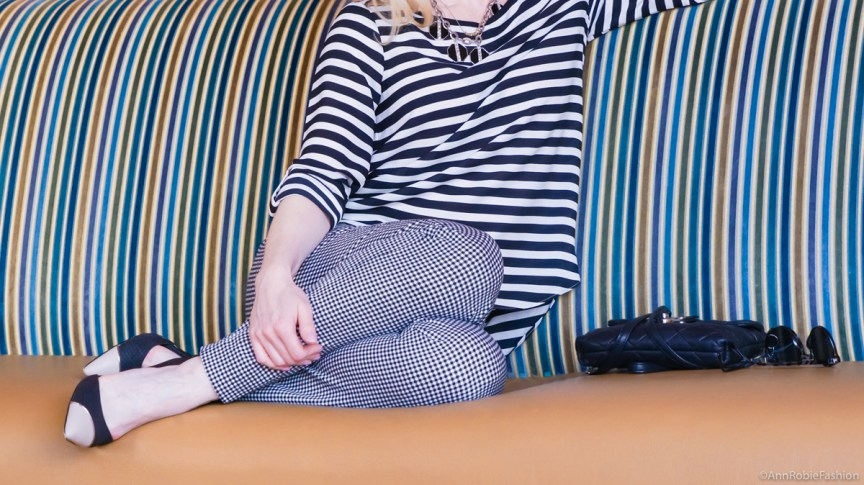 Petite style: Pixie ankle pants Old Navy, black and white striped pullover LOFT, heels Calvin Klein - casual outfit by petite style blogger AnnRobieFashion