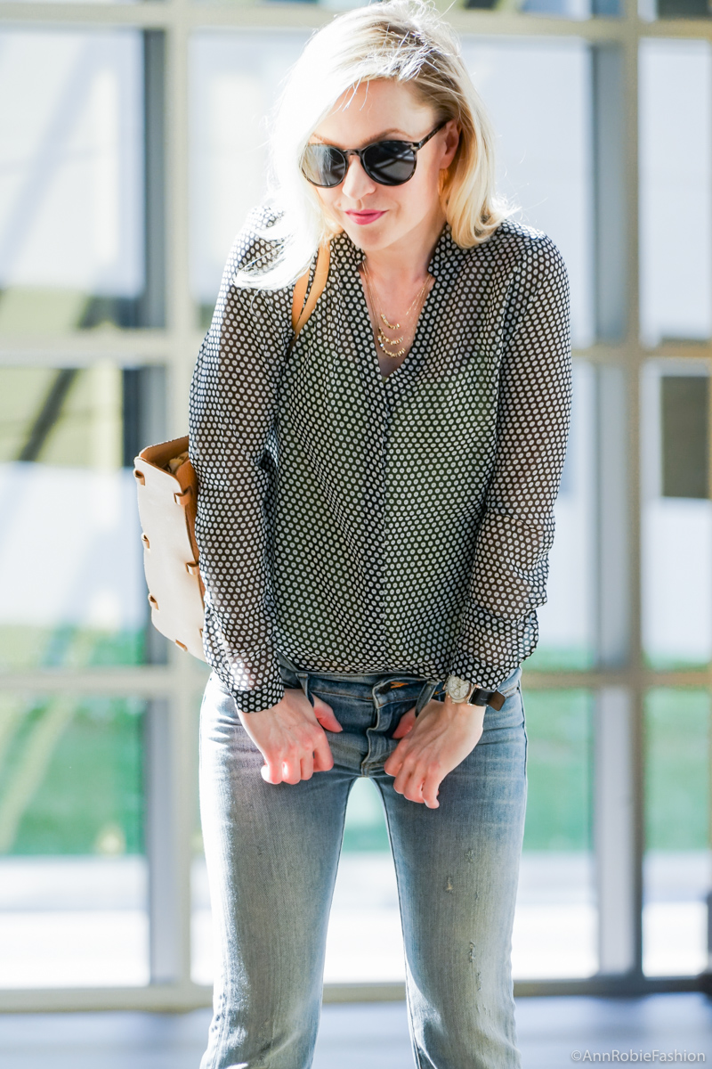 What to wear with flare jeans: Sheer blouse Ann Taylor, flared jeans Ralph Lauren - casual outfit by petite style blogger AnnRobieFashion
