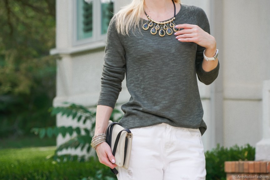 Petite style: Dark green sweater Gap, white boyfriend jeans, tan wedges Gianni Bini - casual outfit by petite style blogger AnnRobieFashion