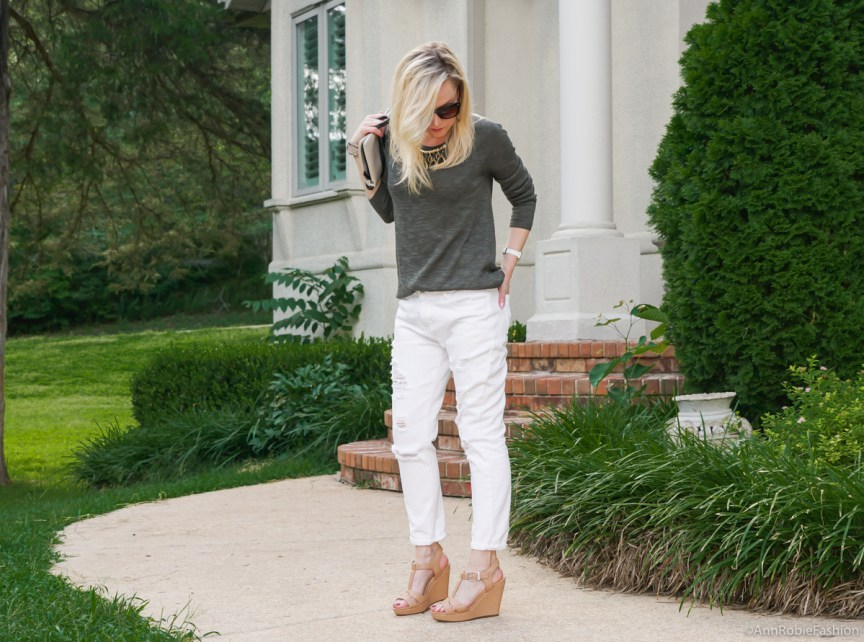 Boyfriend jeans for petites: Dark green sweater Gap, white boyfriend jeans, tan wedges Gianni Bini - casual outfit by petite style blogger AnnRobieFashion