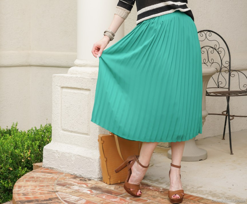 Pleated midi skirt outfit: Turquoise midi skirt, striped sweater Ann Taylor, platform sandals White House Black Market - casual outfit by petite style blogger AnnRobieFashion