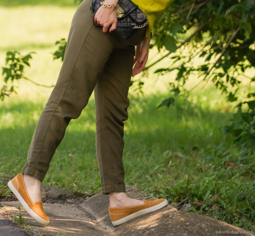 Avocado green T-shirt Ann Taylor, military green pants Asos, Timberland mustard yellow slip-on sneaker - outfit by petite style blogger AnnRobieFashion 3.1