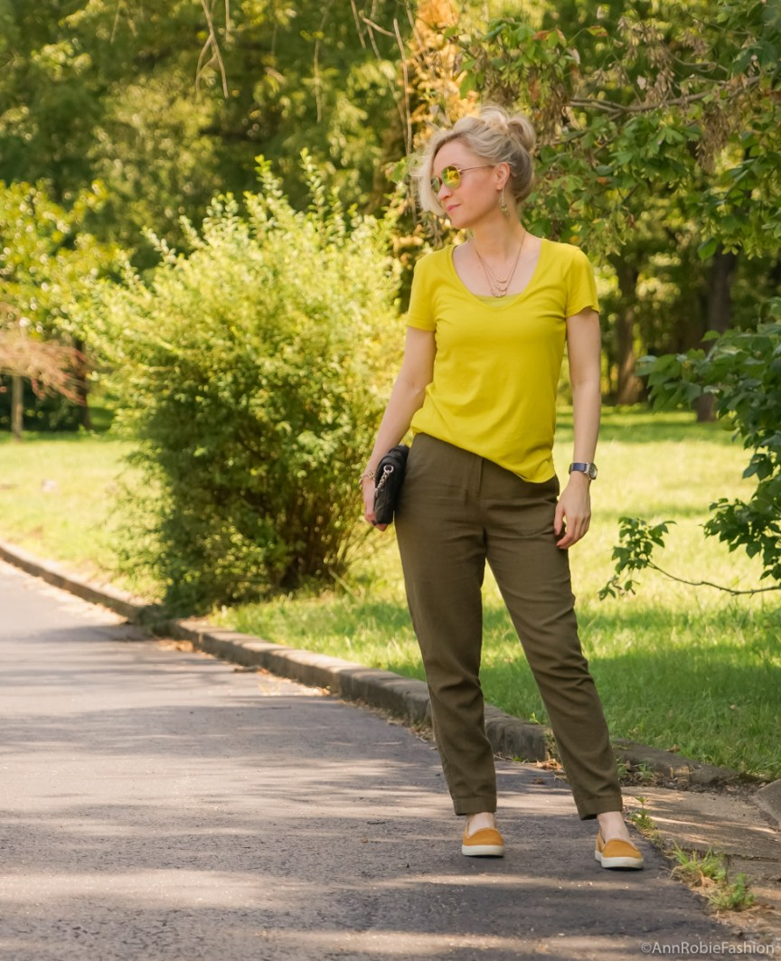 Casual pants & slip-ons: Avocado green T-shirt Ann Taylor, military green pants Asos, Timberland mustard yellow slip-on sneaker - outfit by petite style blogger AnnRobieFashion