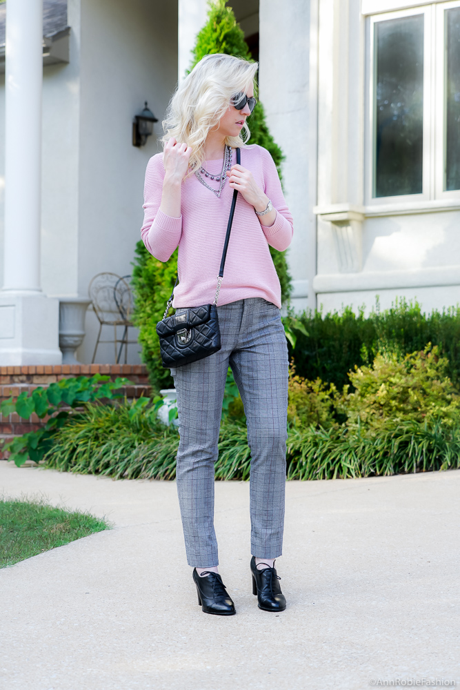 Fall Trends: Blush pink sweater Ann Taylor, grey plaid ankle pants Banana Republic - fall outfit by petite style blogger AnnRobieFashion